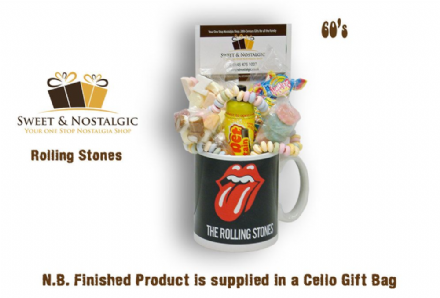 Rolling Stones Mug with/without a rocking selection of 60's retro sweets.